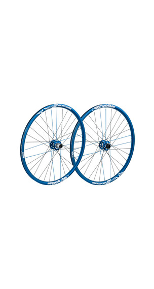 Spank Spike Race28 EVO wheelset 20mm + 12/135mm blue